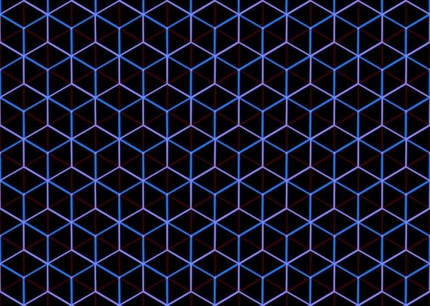 Abstrait sans soudure bleu et violet style hexagonal cube fond de mur de modèle de cube.