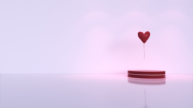 Abstrait, scène pour l'affichage du produit. ballon d'amour, saint valentin