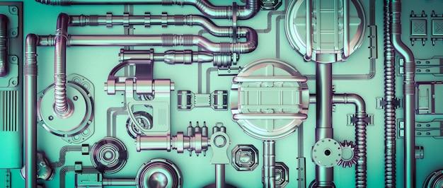 Abstrait de science-fiction avec des câbles et des tuyaux.