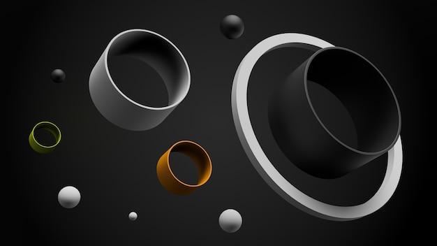 Abstrait simple fait de tubes avec des sphères. formes géométriques de rendu 3d.