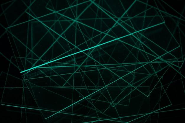 Abstrait sombre avec des lignes vertes abstrait des lignes bleues et vertes
