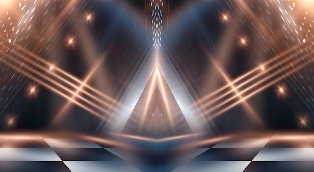 Abstrait sombre moderne avec des rayons et des lignes.