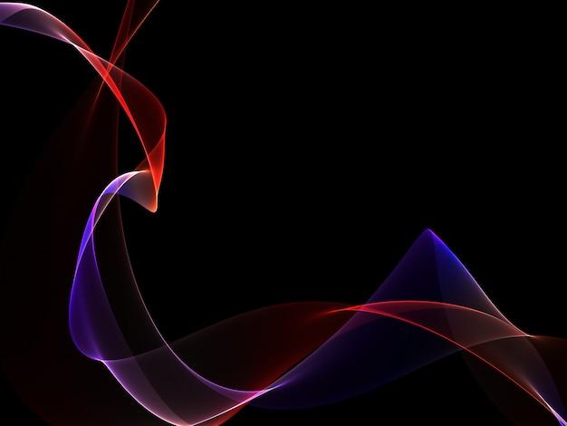Abstrait sombre avec des vagues abstraites rougeoyantes