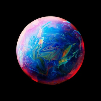 Abstrait avec une sphère bleue rose et jaune