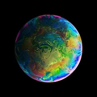 Abstrait avec une sphère verte bleue et rose