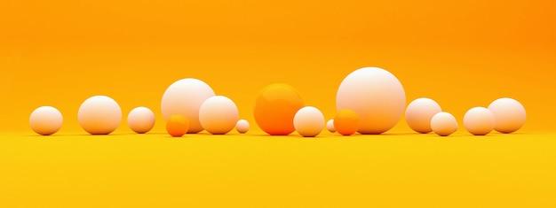 Abstrait avec des sphères 3d, des bulles en plastique blanc et orange