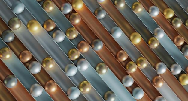 Abstrait avec des sphères dorées, argentées et cuivrées.
