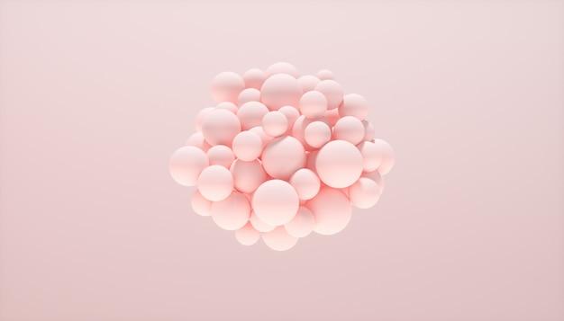 Abstrait avec des sphères dynamiques sur fond rose