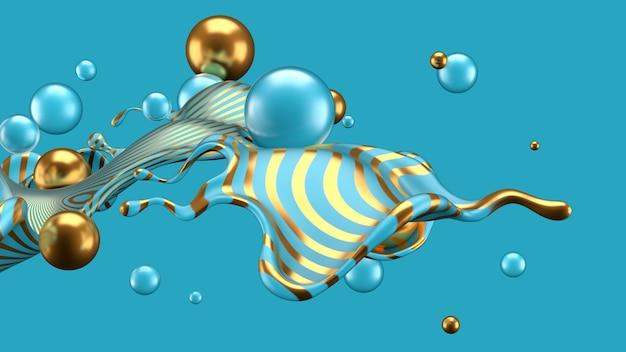 Abstrait avec splash et balle. illustration 3d, rendu 3d.