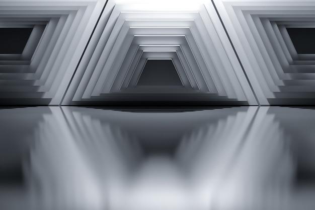 Abstrait avec des structures architecturales trapèzes géométriques aux couleurs noir et blancs.