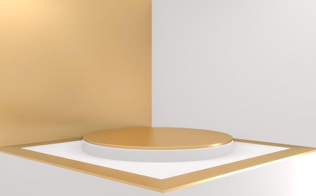 Abstrait de style minimaliste géométrique blanc et or podium doré