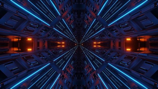 Abstrait de symétrie et de réflexion futuriste avec néons orange et bleu