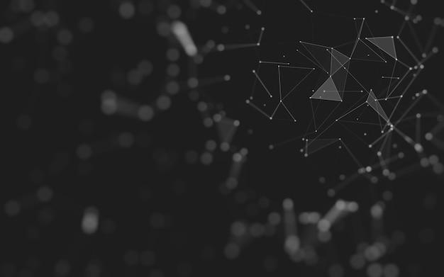 Abstrait. technologie des molécules aux formes polygonales, reliant les points et les lignes. structure de connexion. visualisation du big data.