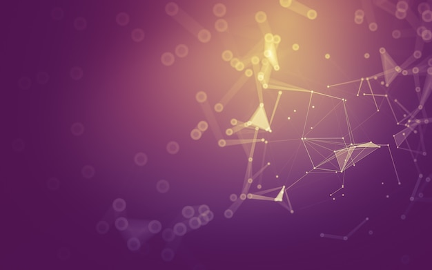 Abstrait. technologie des molécules aux formes polygonales, reliant les points et les lignes.