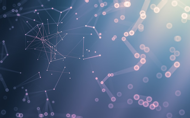 Abstrait. technologie des molécules aux formes polygonales