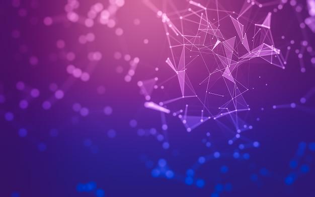 Abstrait. technologie des molécules avec des formes polygonales, reliant des points et des lignes