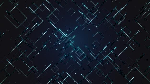 Abstrait technologique avec des rayures et des particules 3d illustration