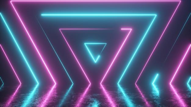 Abstrait de triangles colorés néon apparaissant de façon transparente
