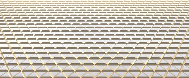 Abstrait triangulaire carrelé blanc et or. surface de triangles extrudés. rendu 3d.