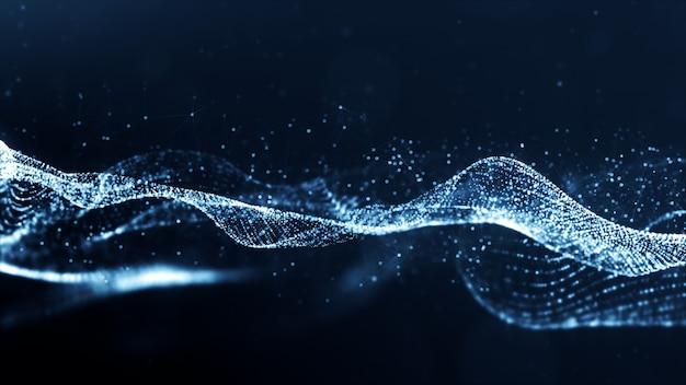 Abstrait de la vague de particules de couleur bleue