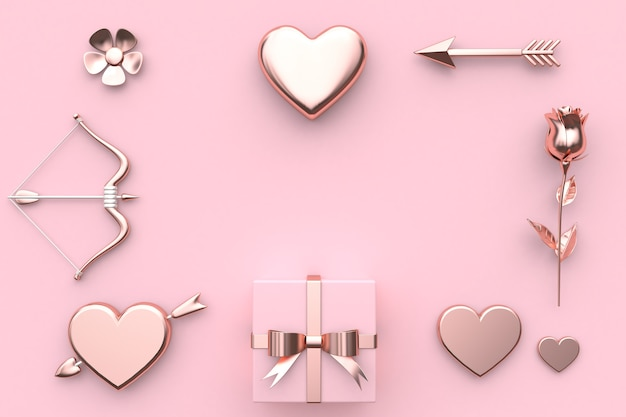 Abstrait valentine concept 3d rendu fleur coeur flèche arc cadeau boîte rose rose backgrou