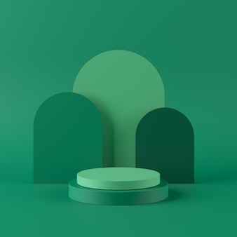 Abstrait vert avec podium de forme géométrique pour le produit. concept minimal. rendu 3d