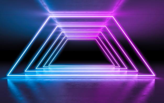 Abstrait violet et bleu néon des lumières rougeoyantes dans une pièce sombre vide avec réflexion.