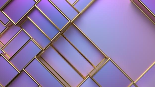 Abstrait violet avec des cases géométriques aléatoires et des cadres dorés