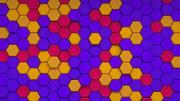 Abstrait violet orange rouge hexagonal