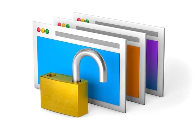 L'accès à l'information est ouvert. ouvrez la serrure et les fenêtres de l'ordinateur. rendu 3d.