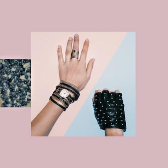 Accessoires élégants pour femmes. bijoux et gants en cuir. la mode noire.