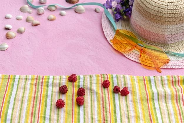 Accessoires d'été. un chapeau de paille de femme, des lunettes et une couverture avec des framboises dessus.