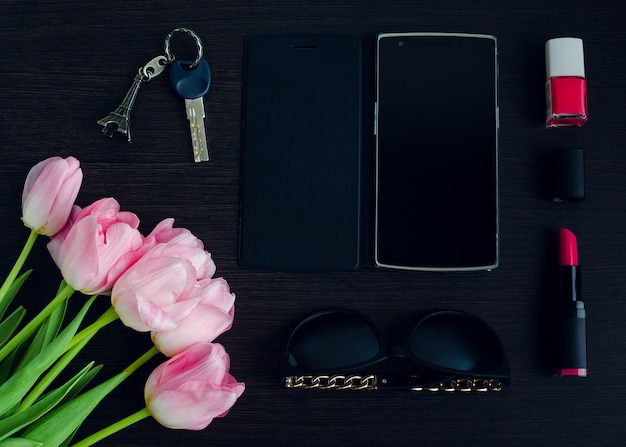 Accessoires femme rose et noir