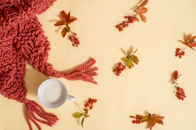 Accessoires liés à l'automne .echarpe et bonnet orange tricotés à partir de laine. feuilles sèches sur fond jaune. carte d'automne. confortable automne lumineux t. lay plat, vue de dessus.copy spase