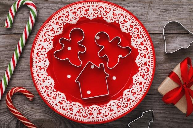 Accessoires de noël pour la vue de dessus de cuisine festive