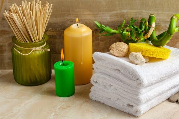 Accessoires de spa sur bois