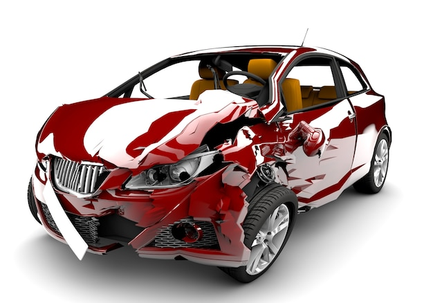 Accident de voiture rouge