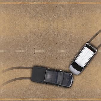 Accident de voiture, vue aérienne sur la route et l'autoroute