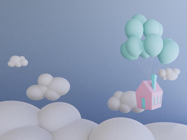 Accueil avec ballon flottant dans le fond de rendu sky.3d.
