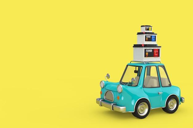 Accumulateur de batterie de voiture rechargeable 12v avec étiquette abstraite avec voiture de dessin animé bleu sur fond jaune. rendu 3d