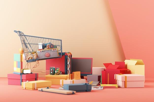 Achats de concept de jeu. manette de jeu et téléphone portable avec haut-parleur console de jeu vidéo boîtier d'ordinateur vr et écran avec un design tendance minimaliste pastel coloré. rendu 3d