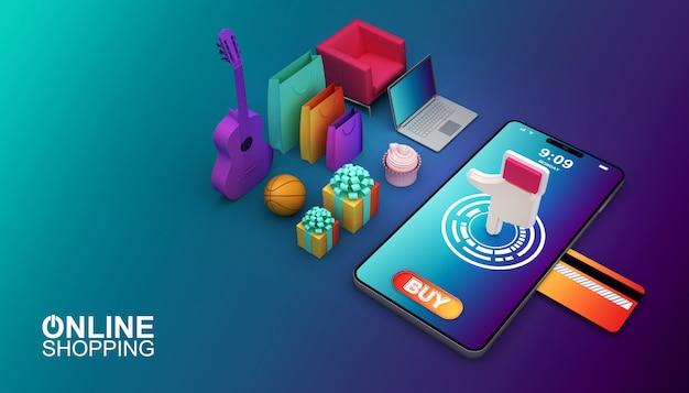 Achats en ligne, application mobile, illustration de rendu 3d