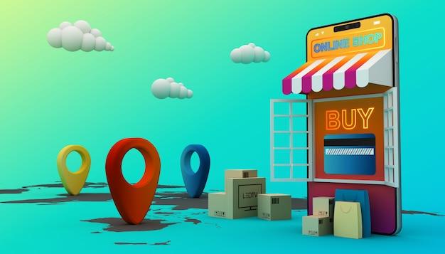 Achats en ligne, application mobile, rendu 3d