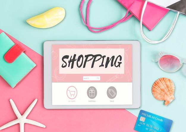 Achats en ligne expédition internet commerce concept