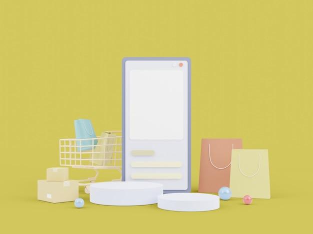 Achats en ligne sur le site web. achats en ligne d'applications mobiles. concept de livraison. illustration 3d
