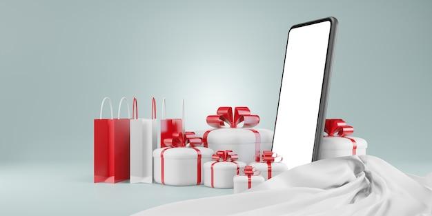 Achats en ligne avec smartphone. marketing numérique, coffret cadeau de noël, boules, publicité sociale, illustration 3d