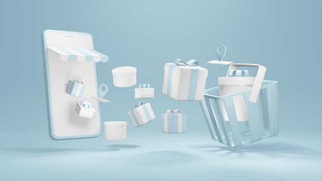 Achats en ligne smartphone de rendu 3d avec coffrets cadeaux et symboles de service de localisation flottent dans le panier