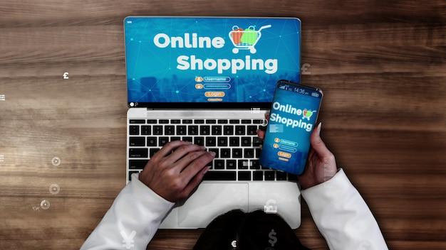 Achats en ligne et technologie de l'argent internet conceptuel
