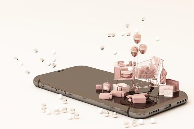 Achats en ligne téléphone intelligent avec panier cadeau carte de crédit sac à provisions en ton de couleur rose rendu 3d