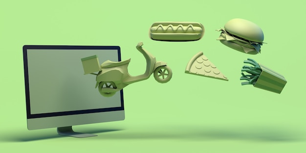 Acheter de la nourriture en ligne avec ordinateur livraison à emporter hot dog pizza hamburger frites malbouffe espace de copie
